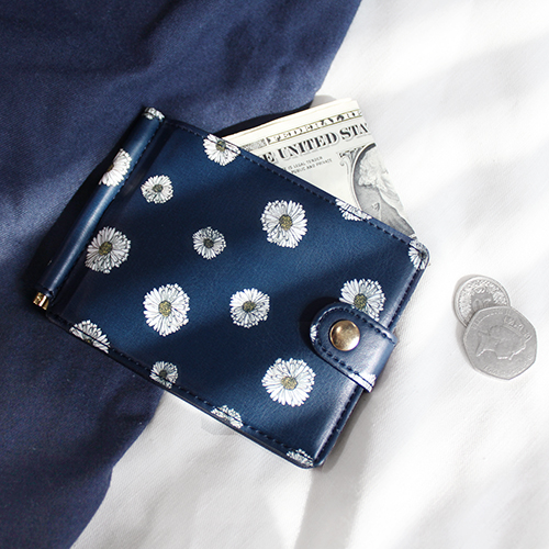 D.LAB Flower pattern moneyclip ver.2 - Navy - 디랩 D.LAB