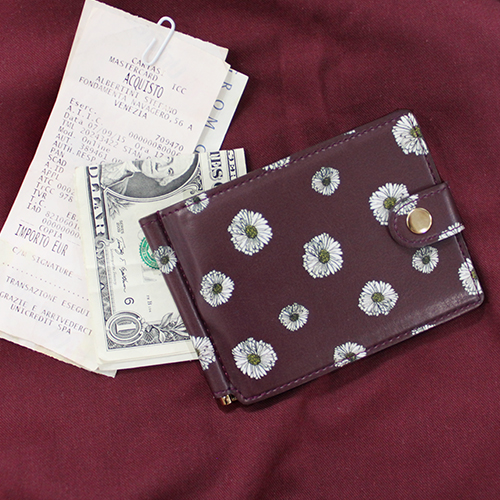 D.LAB Flower pattern moneyclip ver.2 - Burgundy - 디랩 D.LAB