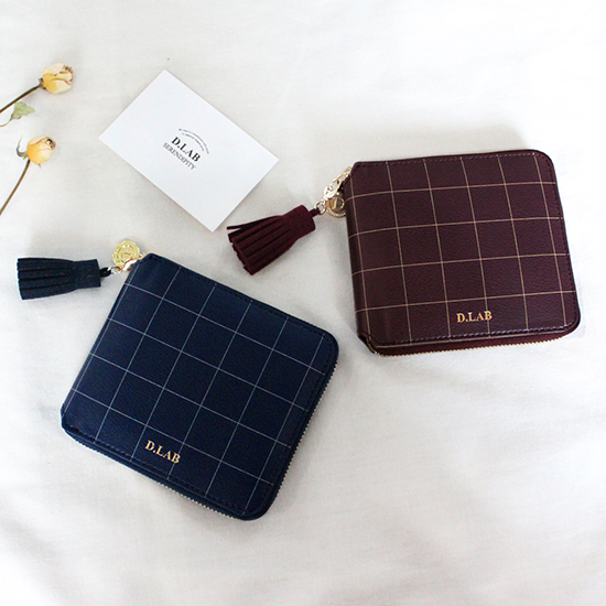 D.LAB Check zipper wallet - 3 color - 디랩 D.LAB